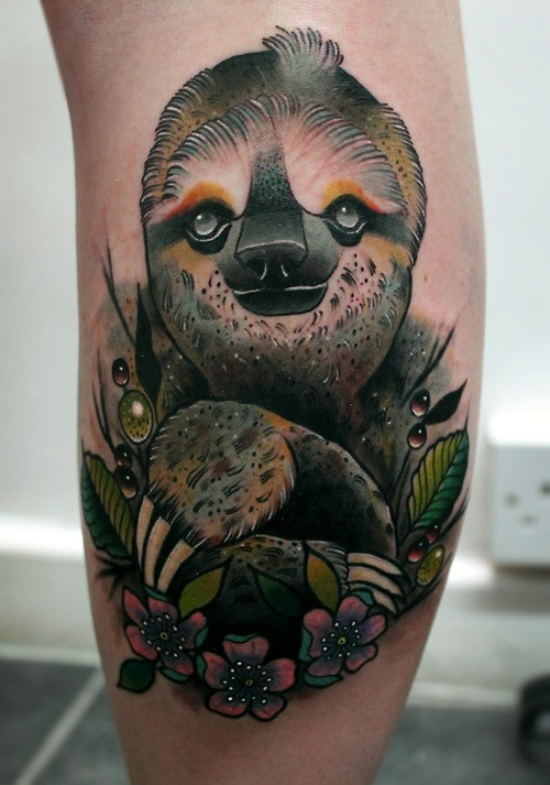 Realistic Sloth And Flowers Tattoo Tattooimages Biz