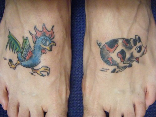 Rooster Running For Pig Tattoo On Both Feet Tattooimages Biz