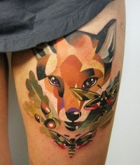 Colorful fox head and butterflies tattoo