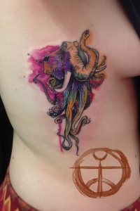 Watercolor elephant and octopus tattoo by koraykaragozler